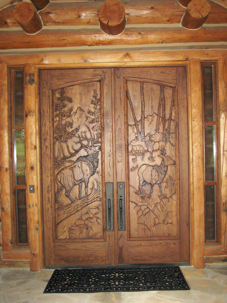 Wood entry doors hand carved and cabinet