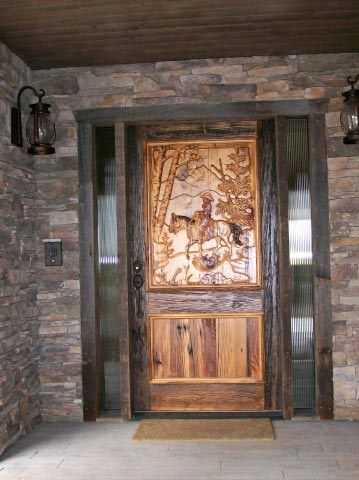Carved Cowboy Door