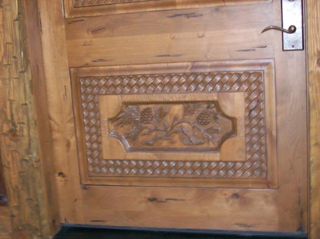 Carved Door- Elk Scene