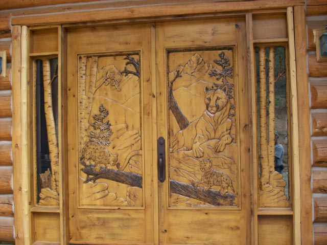 Carved door custom wood with buck and doe