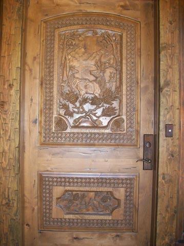 Carved Door- Rustic Elk Scene