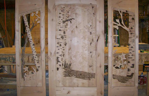 Hand Carved Glass Door- Forest