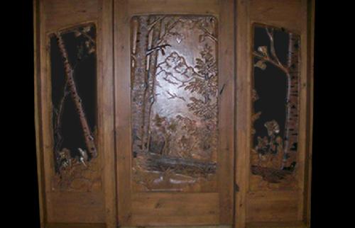 Full Scenic Carved Glass Door