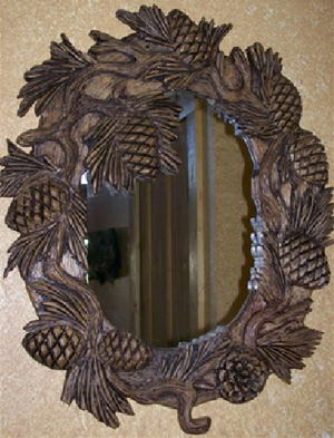 Hand Carved Pine Cone Mirror